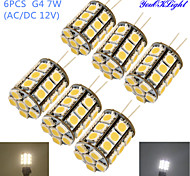 cheap -YouOKLight 6pcs 4W 250-300 lm G4 LED Corn Lights T 27 leds SMD 5050 Decorative Warm White Cold White AC 12V DC 12V