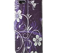 фиолетовый узор орхидеи искусственная кожа флип защитный чехол с магнитной оснастки и слотом для карт iPhone 5с