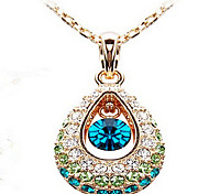 Women's Pendant Necklaces Crystal Cubic Zirconia Rhinestone Drop Fashion Screen Color Jewelry
