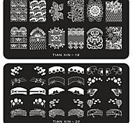 Недорогие -6 pcs Штамповка плиты / Украшения для ногтей Цветы / Мода Повседневные Дизайн ногтей / Металл