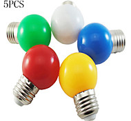 5pcs 1W E26/E27 LED Globe Bulbs 100LM Red/Blue/Green/Yellow/White Color Decorative AC220-240V