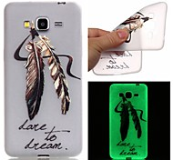 cheap -Case For Samsung Galaxy Samsung Galaxy Case Glow in the Dark Pattern Back Cover Feathers TPU for J3 J1 Ace Grand Prime Grand Neo Core