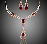 cheap -Women's Crystal Synthetic Ruby Rhinestone Zircon Cubic Zirconia Gold Plated Luxury Jewelry Set 1 Necklace 1 Pair of Earrings Earrings