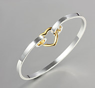 """Noble Quality 925 Sterling Silver""""Heart-shaped""""Bangles Party Daily Bangles For Woman&Lady"""