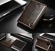 cheap -For BlackBerry Case Card Holder / with Stand / Flip Case Full Body Case Solid Color Hard Genuine Leather for BlackBerry