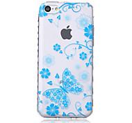 синий бабочки волны скольжения ручка ТПУ мягкой случай телефона для iPhone 5с