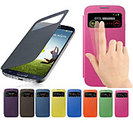 cheap -Case For Samsung Galaxy Samsung Galaxy Case with Windows Flip Full Body Cases Solid Color PU Leather for S4 Mini