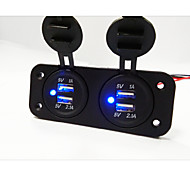 cheap -2 Hole Panel Dual USB Car Charger Socket