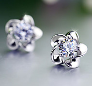 cheap -Stud Earrings - Pearl Flower Work, Birthstones Silver For