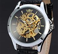 Herren Armbanduhr Mechanische Uhr Mechanischer Handaufzug Leder Band Luxuriös Schwarz