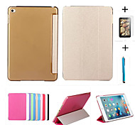 cheap -Case For iPad Air 2 with Stand Auto Sleep / Wake Origami Full Body Cases Solid Color PU Leather for iPad Air 2 iPad 9.7 (2017)