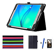 Luxury Case  Lichee Style PU Leather Stand Cover For Samsung Tab A 9.7 T550 T555 Stylus+Film