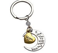 cheap -Hot Selling Jewelry For Family I Love You Sister Lucky Pendant Key Chain Heart Moon Pendant Keychain