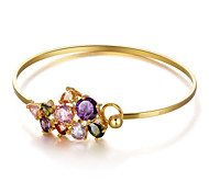 Fshion Party Accessories Colorful Cubic Zirconia Cuff Bangle 18K Gold Plated Bracelets & Bangles For Women