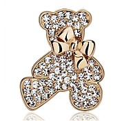 cheap -Women's Bear Bowknot Rhinestone / Silver Plated / Gold Plated - Fashion Bowknot / Animal Gold / Silver Brooch For Wedding / Party / Casual