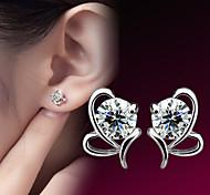 cheap -Women's Heart Sterling Silver Zircon Silver Stud Earrings - Heart Birthstones Earrings For Wedding Party Daily