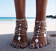 cheap -Multi Layer Bikini Silver Anklet Barefoot Sandals - Women's Silver Personalized Unique Design Multi Layer Fashion Bikini European Jewelry