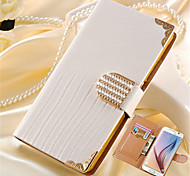 cheap -Case For Samsung Galaxy Card Holder Rhinestone with Stand Flip Full Body Cases Solid Color Hard PU Leather for S8 Plus S8 S6 edge plus S6
