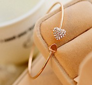 cheap -Women's Bangles Cuff Bracelet Heart Cute Style Fashion Simple Style Adjustable Rhinestone Heart Jewelry Wedding Party Gift Daily Casual