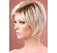 cheap -Ombre hair Wig Short Straight Blonde with Dark Roots Synthetic hair wigs for women Free shipping
