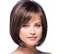 cheap -Synthetic Wig Straight Bob Haircut With Bangs Side Part Highlighted/Balayage Hair Brown Women's Capless Natural Wigs Short Synthetic Hair