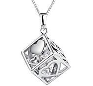 925 Fine Silver AAA Zircon Heart Love Pendant NecklaceImitation Diamond Birthstone