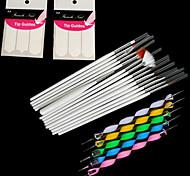 15pcs искусства ногтя картины ручки щетки + 5pcs 2-усеивание ручка инструмента + 2bag направляющие кончик французского маникюра
