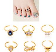 1pcs Bow Crown Rhinestone Diamond Toe Nail Rings Gold Alloy Elegant Women Nail Jewelry Decoration Tools