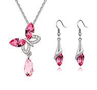European Style Fashion Elegant Shiny Crystal Butterfly Necklace/Earrings Set