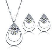 Men's Women's Jewelry Set Necklace/Earrings Fashion Stainless Steel Zircon Titanium Steel Geometric Necklaces Earrings For Wedding Party