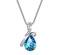 HKTC Valentine's Glittering Blue Austrian Crystal Angel's Teardrop CZ Diamond Pendant Necklace Platinum Plated Jewelry