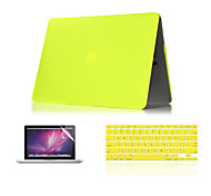 "cheap -Case for Macbook Air 11"" MacBook Pro 13""/15"" with Retina display Solid Color ABS Material 3 in 1 Matte Hard Case + Keyboard Cover + Screen Protector"