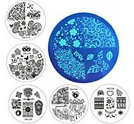 новые конструкции искусства ногтя плиты штемпелюя комплект круглой нержавеющей стали поделки лак для ногтей маникюр печати шаблон ногтей