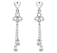 lureme®Fashion Style Silver Plated With Zircon Love And  Tassel Shaped Stud Earrings