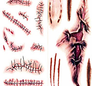 cheap -Terror Wound Lifelike Blood Scar Pattern Plastic Tattoo Stickers White Brown