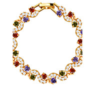 cheap -Colorful Luxury Crystal Vintage Jewelry High quality 18k Gold Plated Cubic Zirconia Bracelet Women Jewelry Gifts B40175