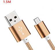 Недорогие -USB 2.0 Стандартный Кабели Назначение Huawei Sony Nokia HTC Motorola LG Lenovo Xiaomi 150 cm Нейлон