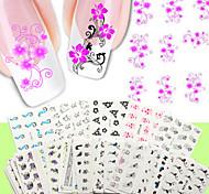 50шт для ногтей наклейки искусства передачи воды 50 различных ПК / комплект цветок дизайн ногтей наклейки-ню упаковка