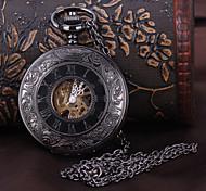 cheap -Men's Pocket Watch Mechanical Watch Automatic self-winding Black Hollow Engraving Analog Luxury Steampunk - Black