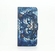 Недорогие -синий рисунок кошки пу кожаный чехол с слот для карт памяти и стенд для Samsung Galaxy A310 / A510