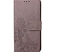 For Samsung Galaxy Case Card Holder / Wallet / with Stand / Flip / Embossed Case Full Body Case Flower PU Leather SamsungS5 Mini / S4