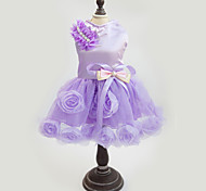 Dog Dress Dog Clothes Fashion Wedding New Year's Floral / Botanical Purple Pink Costume For Pets
