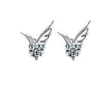 cheap -Women's Stud Earrings Cute Style Fashion Crystal Silver Plated Wings / Feather Jewelry Wedding Party Daily Casual Costume Jewelry