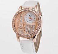 preiswerte -Damen Quartz Armbanduhr Imitation Diamant PU Band Eiffelturm Simulierte Diamant-Uhr Kleideruhr Modisch Weiß Blau Rot Grün Rosa Lila Gelb