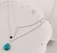 cheap -Women's Cute Drop Turquoise Pendant Necklace Layered Necklace  -  Tassel Party Work Silver Necklace For Party Daily Casual