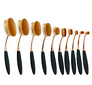 10Pc/Set Pro Fashion Gold Black Oval Toothbrush Shape Eyebrow Face Foundation Podwer Eyeliner Lip Makeup Brushes Tools