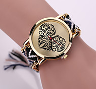 Women Fabric Weave Band Analog Quartz Heart Case  Wrist Bracelet Watch Jewelry