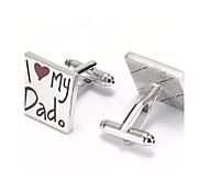 Men's Fashion I Love My Dad Silver Alloy French Shirt Cufflinks (1-Pair)