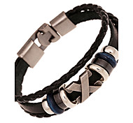 Unisex Alloy Leather Handcrafted Vintage Strand Bracelet(More Colors) Christmas Gifts