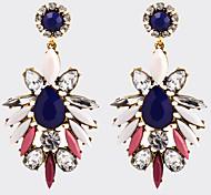 Women's Fashion Vintage Bohemian Zircon Crystal Flower Long Earrings Oorbellen Jewelry Colorful Rhinestones Water Drop Earrings Boucle d'oreille Femme